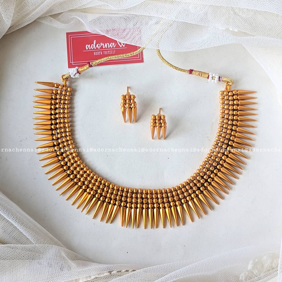 Matte Finish Necklace Set From Adorna Chennai