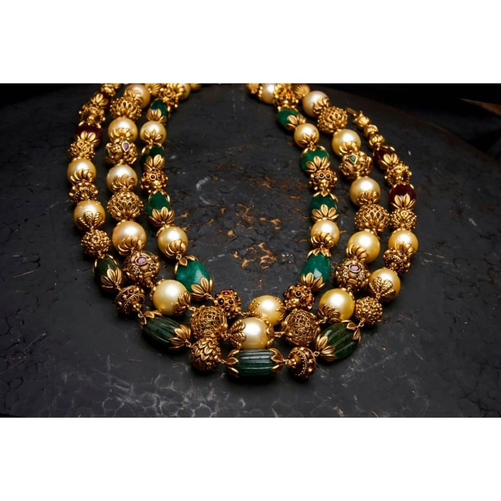Classic Gold Beaded Necklace From Arnav