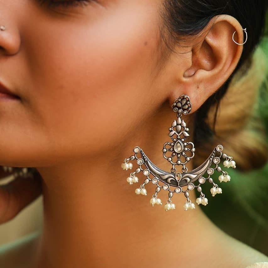 Trendy Silver Earring From Macs Jewellery
