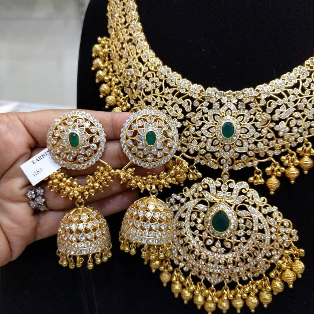 Adorable Silver Necklace Set From Samskruthi Jewellers