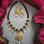 Black Thread Necklace With Pendants From Kruthika Jewellery