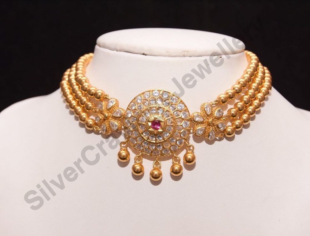 Classic Gold Plated Silver Choker From Silver Cravings Jewellery