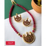 Simple Beaded Necklace Set From Adorna Chennai