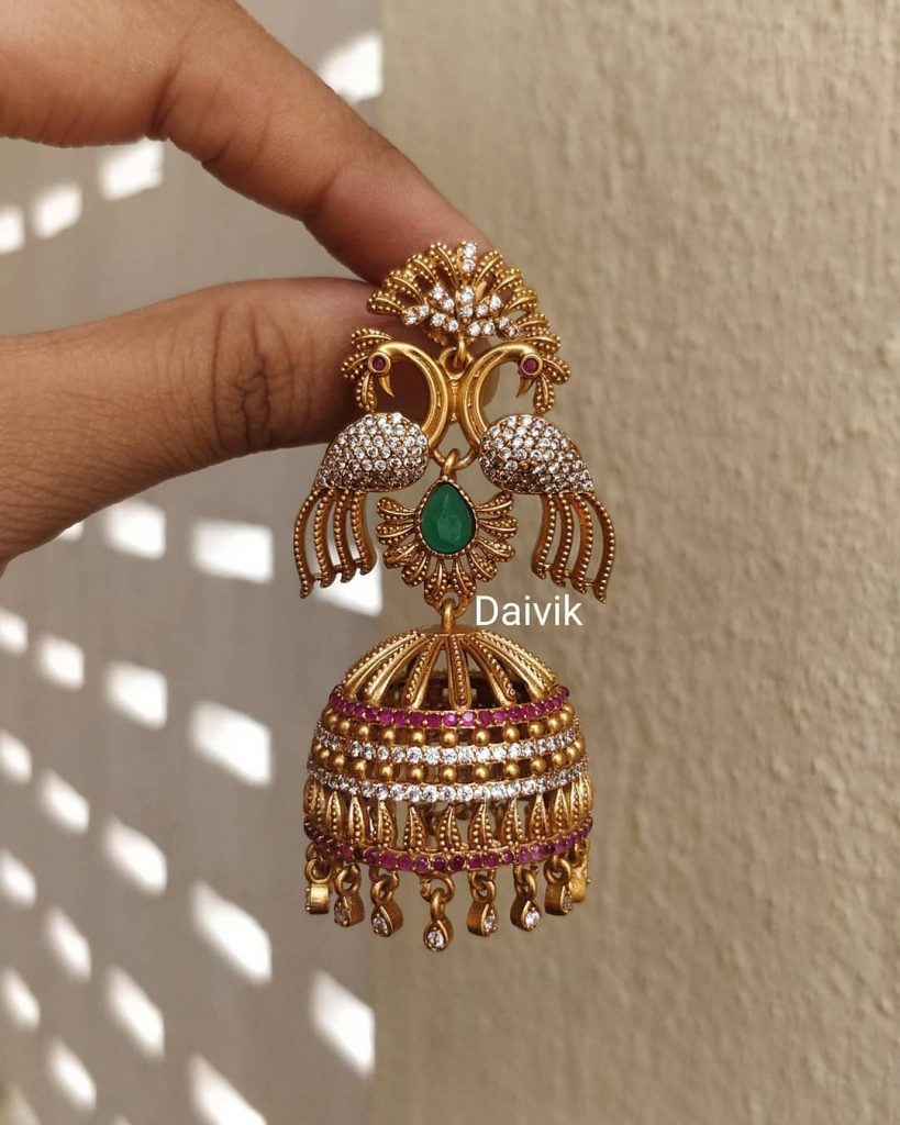 Brass Peacock Red Ruby Antique Jhumkas From Daivik