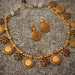 Mahalakshmi Kemp Flower Matte Coin Necklace From Happy Pique