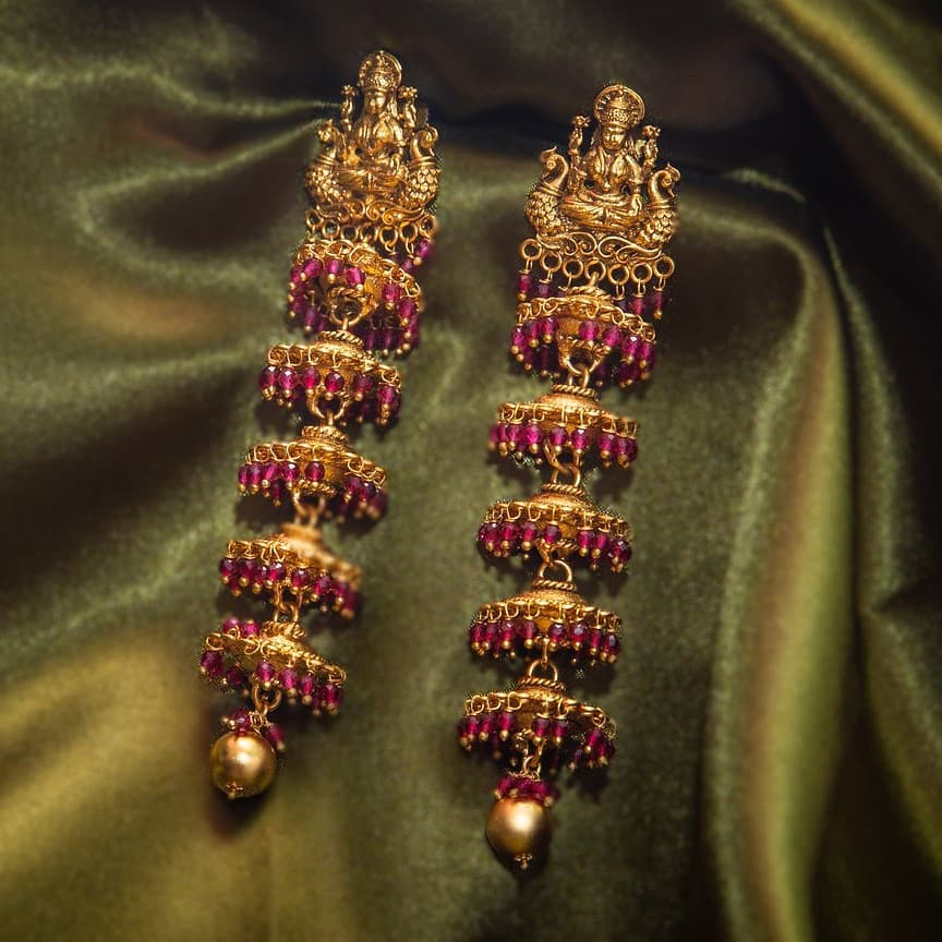Temple Jhumkas Layer Earrings From Happy Pique