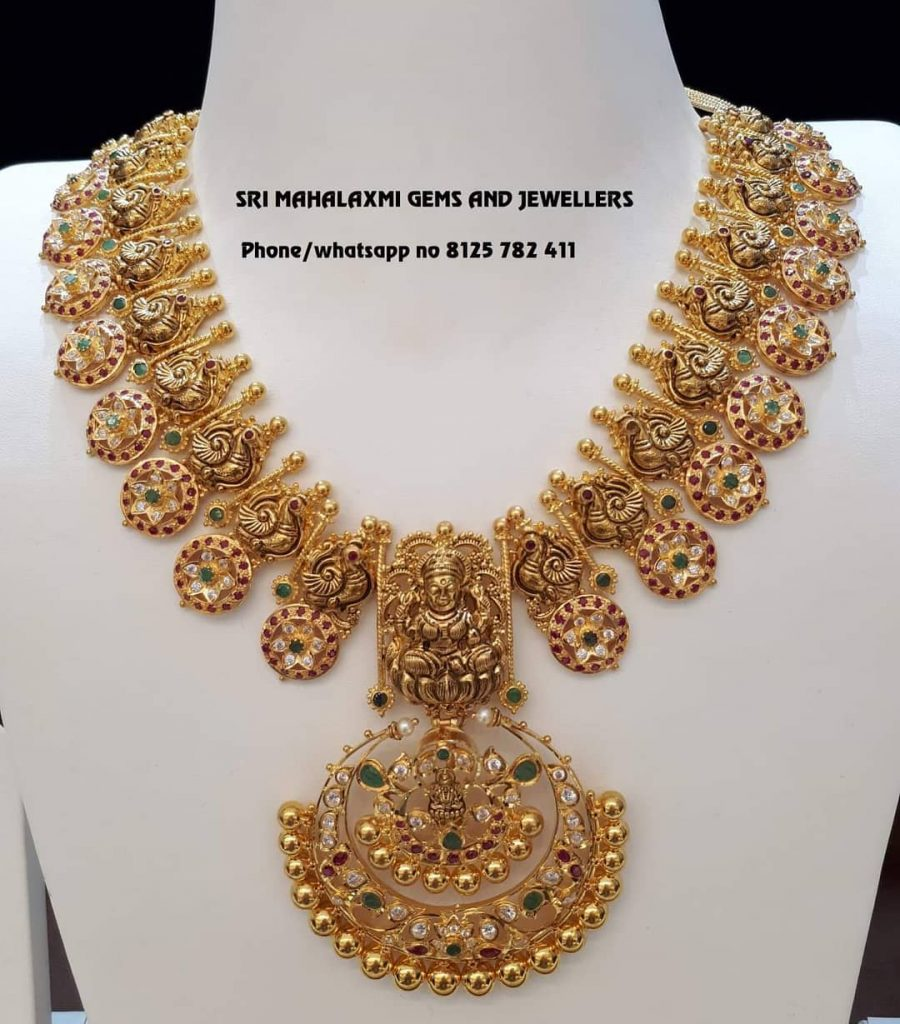 Gorgeous Gold Temple Necklace From Sri Mahalakshmi Gems And Jewellers