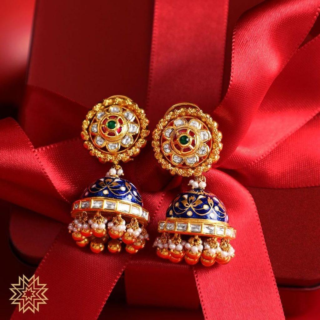 Majestic Gold Jhumkas From Manubhai Jewels