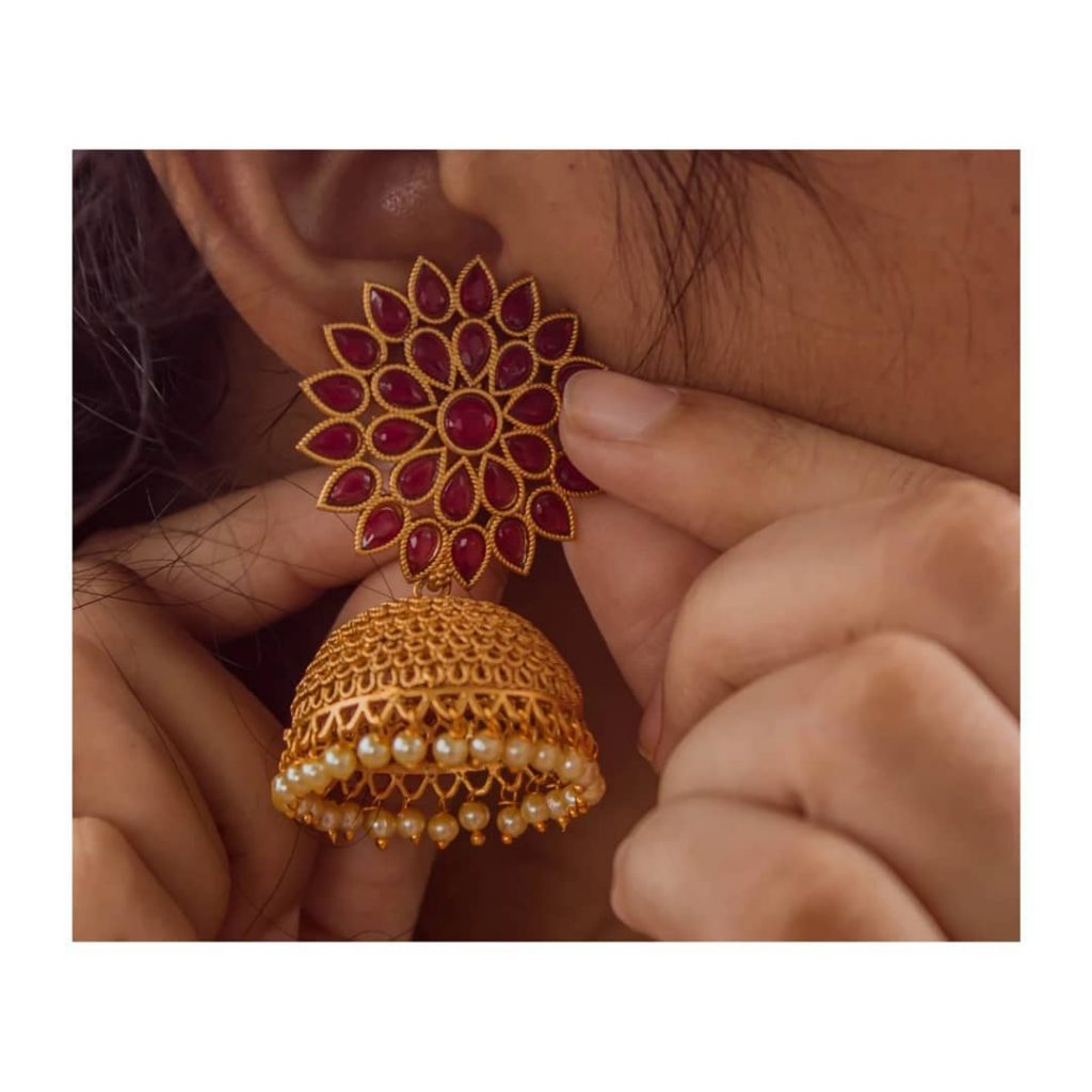 Studded Flower Chakra Jhumkas From Happy Pique