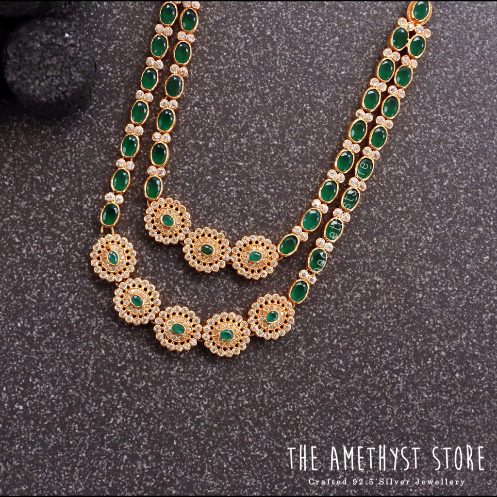 Eye Catching Silver Gold Plated Necklace From The Amethyst Store