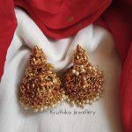 Intricate Lakshmi Devi Jhumkas From Kruthika Jewellery