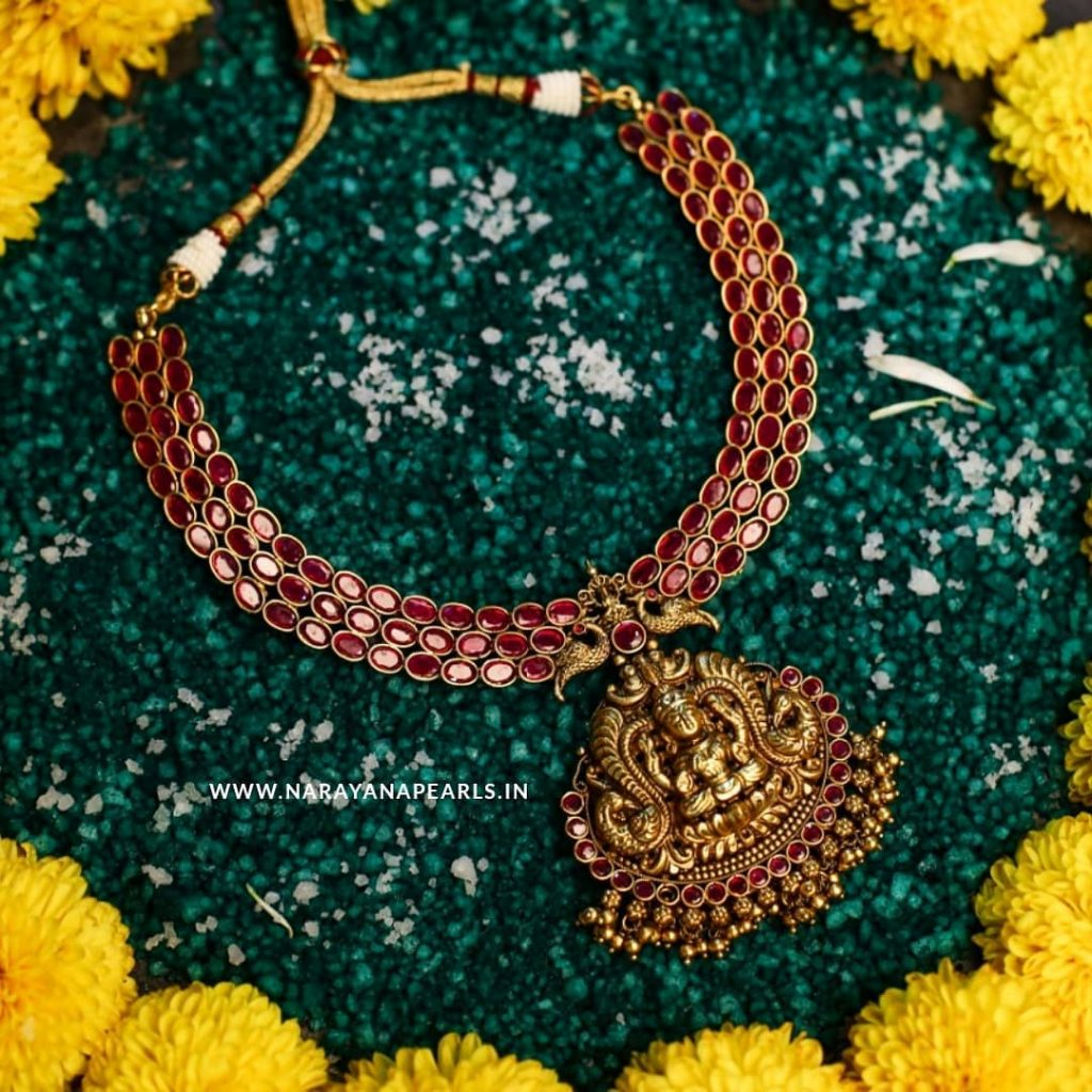 Adorable Temple Necklace From Narayana Pearls