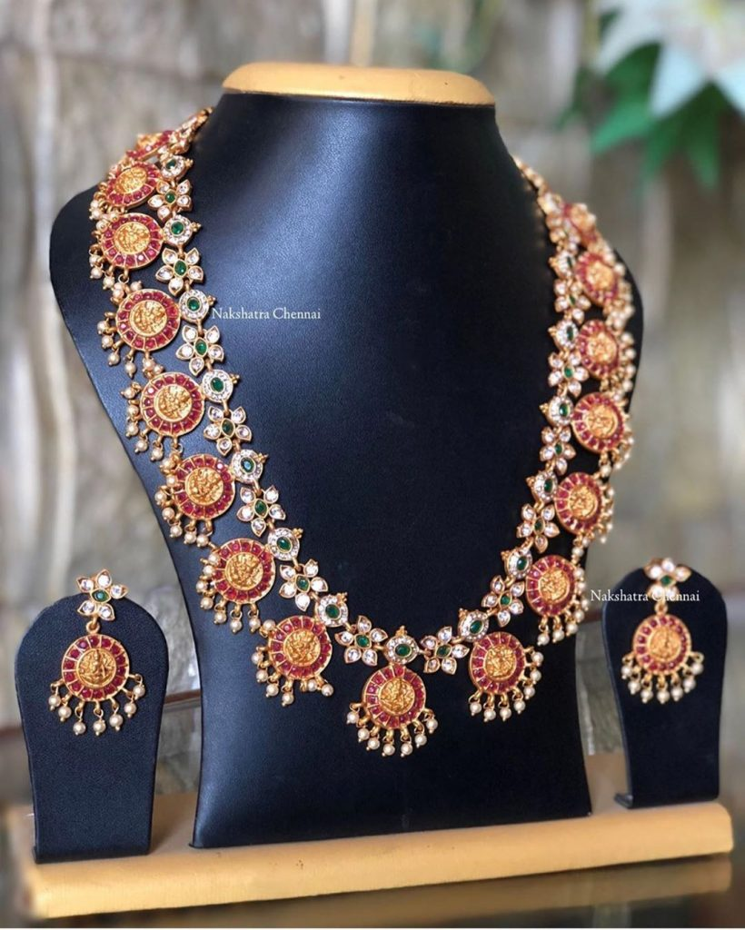 Cute Temple Necklace From Nakshatra Chennai