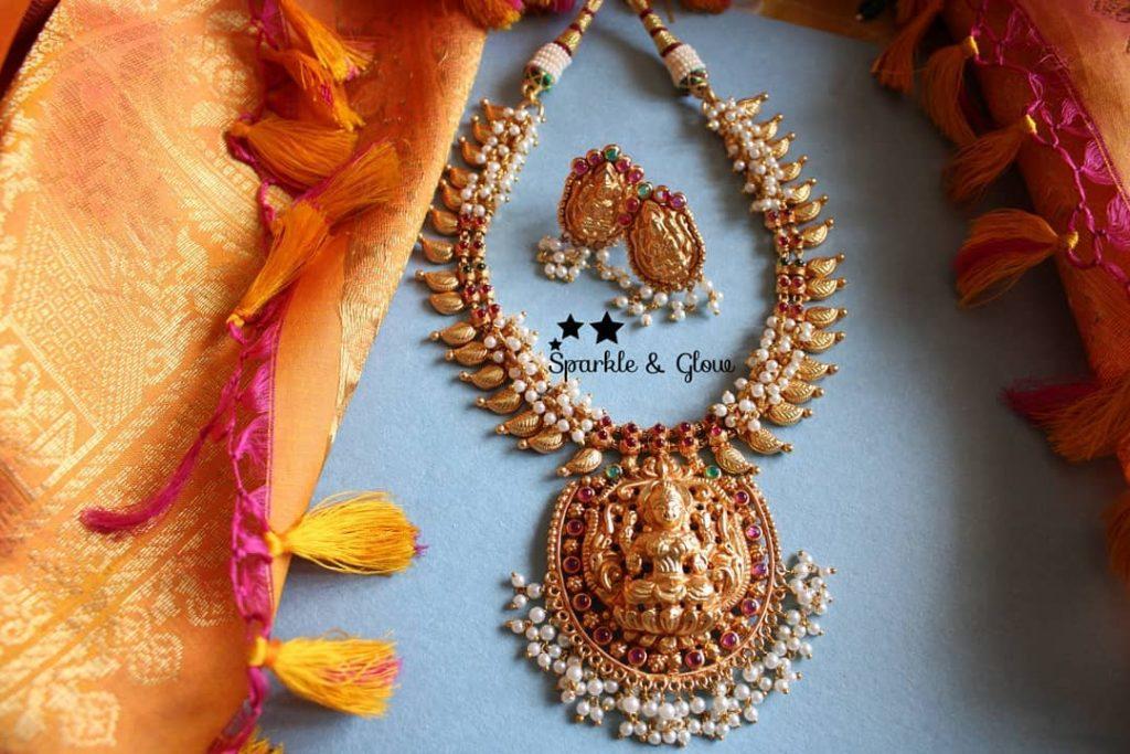 Elegant Mango Lakshmi Neckpiece From Sparkle And Glow