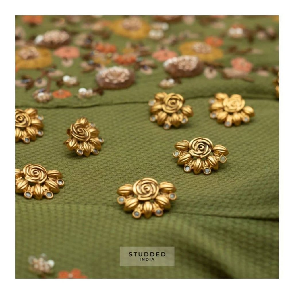 Mini crescent Floral Studs From Studded India