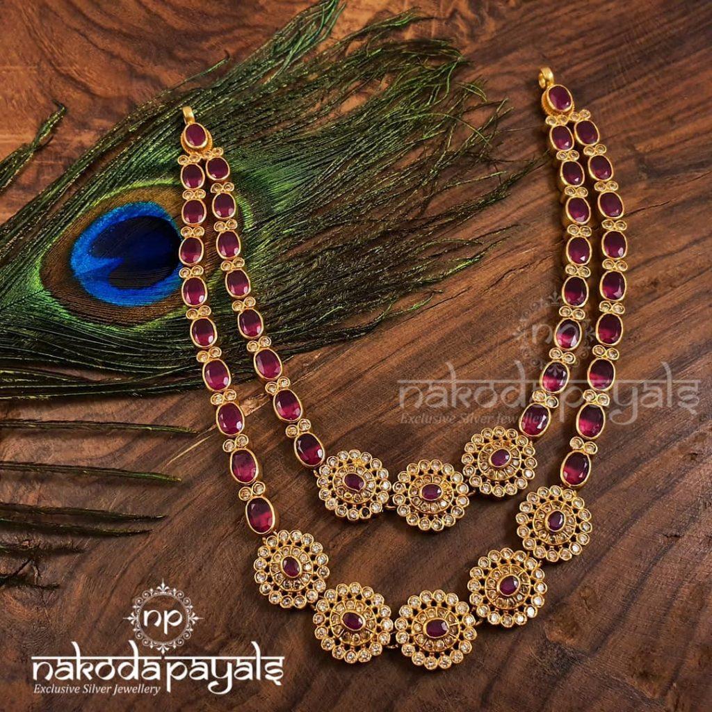 Pretty Layered Silver Necklace From Nakoda Payals