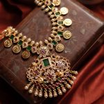 Emerald Coin Necklace Set by Anicha
