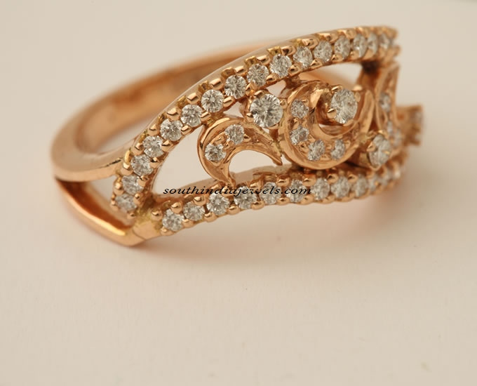 22K gold diamond ring South India Jewels