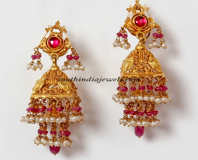 22K gold jhumka with rubies and pearls