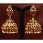 Antique Jewellery : Multicolor stone Jhumka