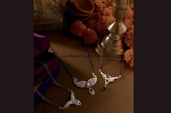 Designer mangalsutra chain with diamonds