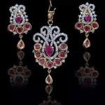 Diamond Pendant set with precious pink stones