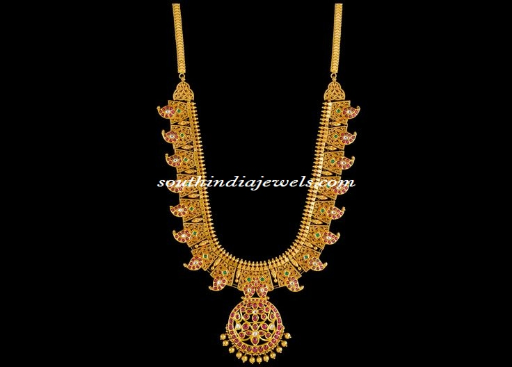 Kalyan Jewellers Antique Gold Necklace South India Jewels