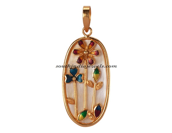 Pc Chandra Jewellers Enamel Coated Gold Pendant South India Jewels