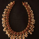Gold Pearl ruby necklace