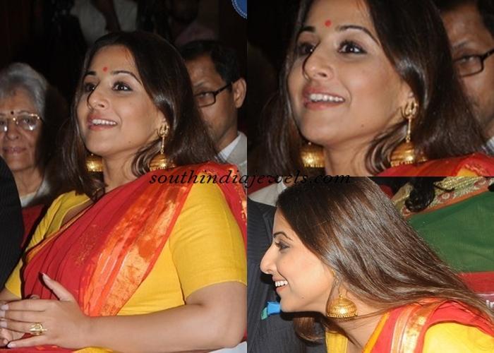kc_college_60th_diamond_jubilee_celebrations_Vidhya Balan-gold Jewellery