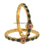 22Kt Gold Emerald Bangles