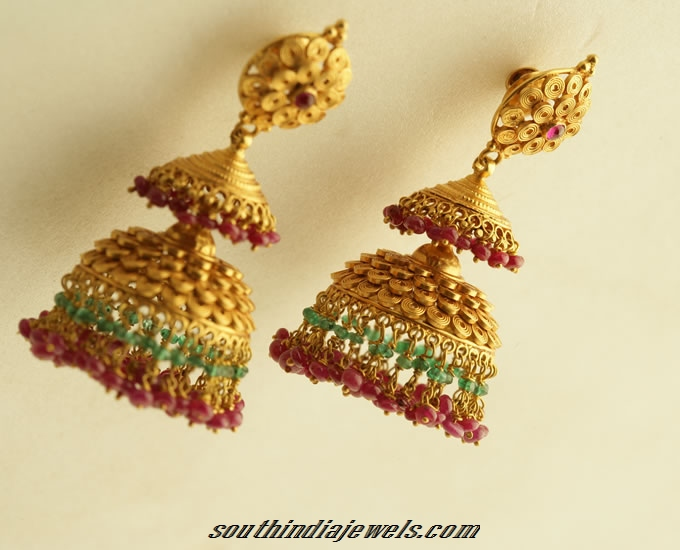 Antique Gold Jhumka Design