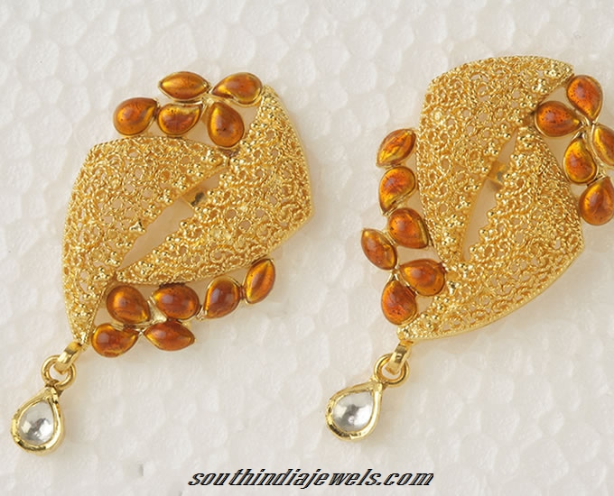 Designer Gold earrings South India Jewels