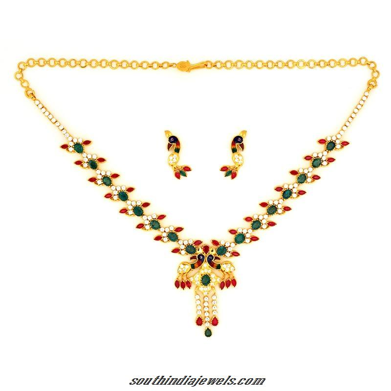 GRT Jewellers gold peacock necklace set