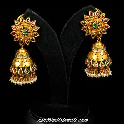 gold floral pattern jhumka design