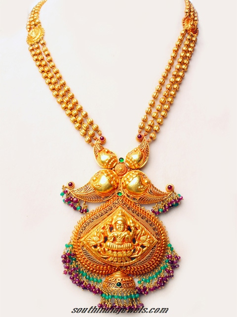 Gold temple jewellery necklace