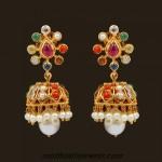 18k Gold Navarathna jhumka earrings by VBJ