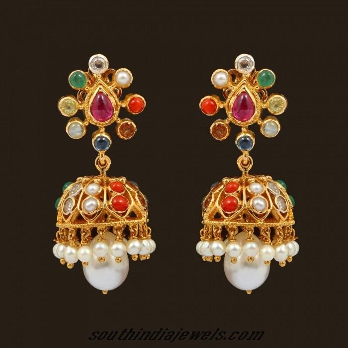 Navarathna jhumka earrings