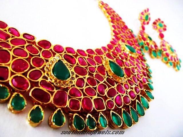 Red Green stone american diamond choker