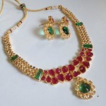 Red, Green stone necklace