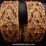Colorful Stone studded gold bangles