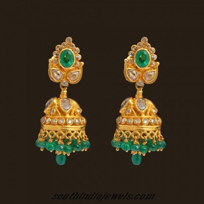 uncut diamond emerald jhumka earrings