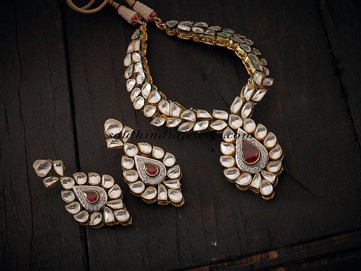 white polki necklace set
