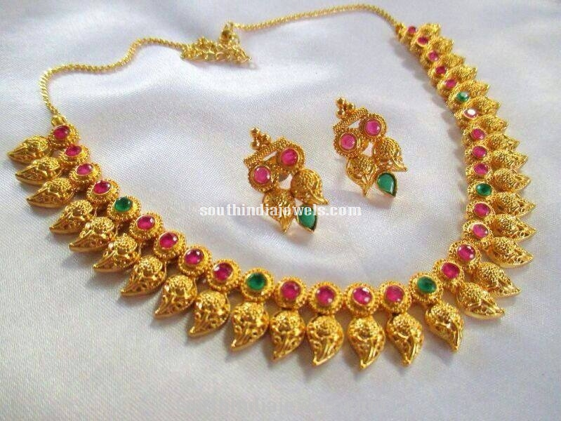 One Gram gold Mango Necklace with earrings