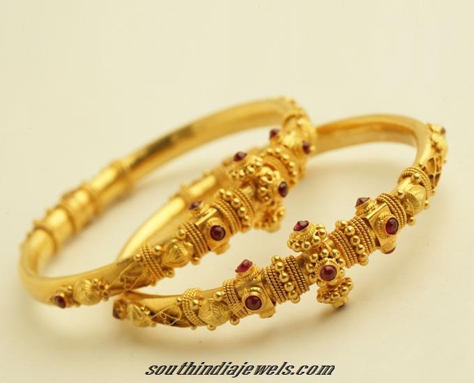 22k Gold Antique Bangle South India