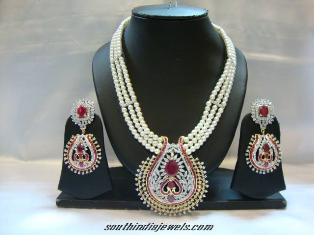 American Diamond Nekclace with pearl mala