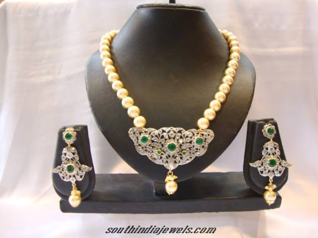 American Diamond Pearl Necklace set