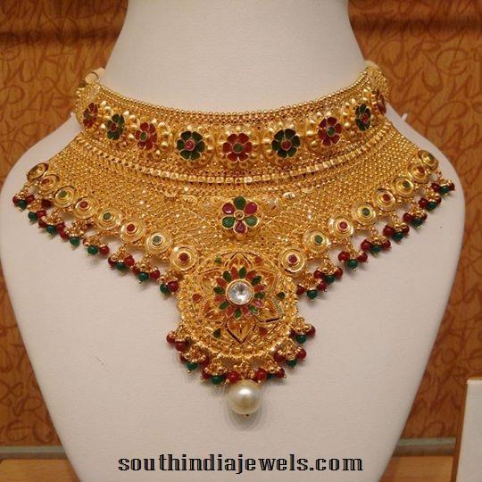 Gold Mennakari Choker Necklace Set