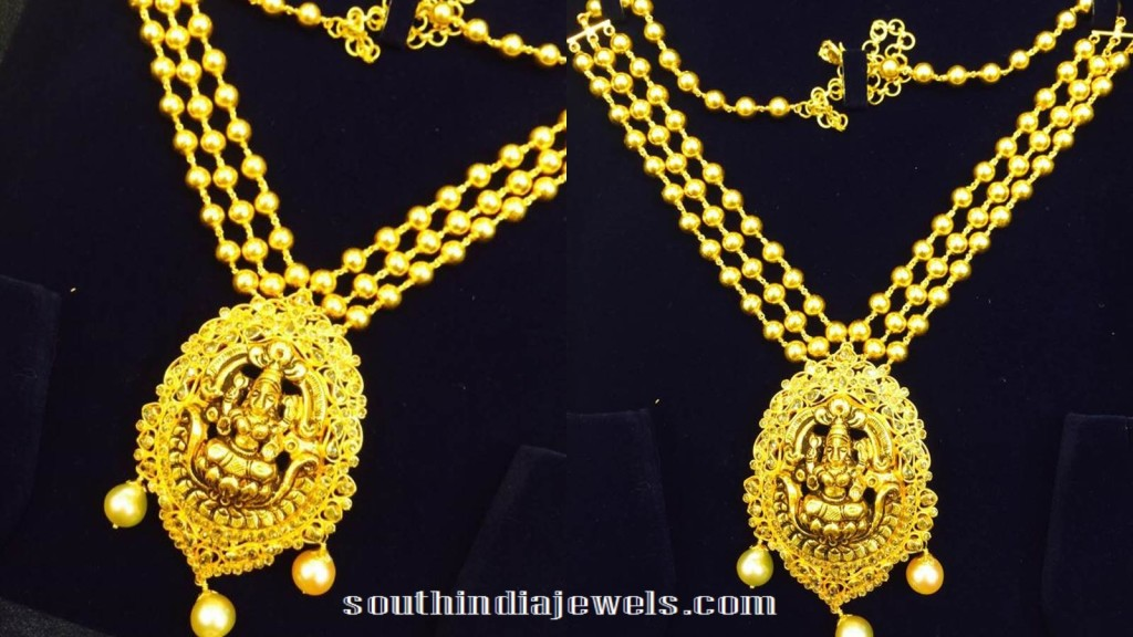 Gold-multilayer-chain-with-lakshmi-pendant-50gms