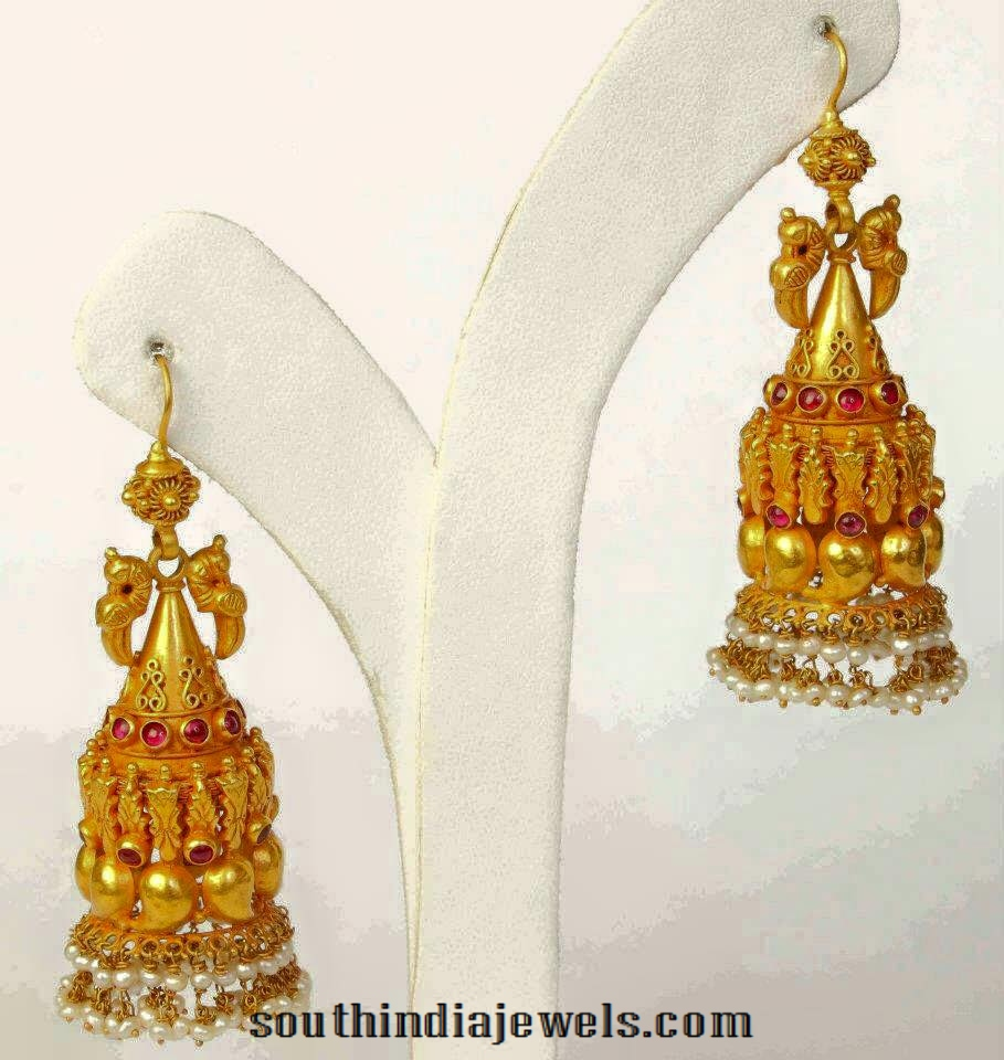 Gold-antique-hoop-jhumka